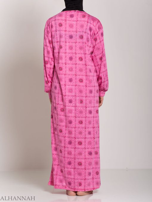 Checkered Floral Embroidered Cotton Nightgown NG107 (8)