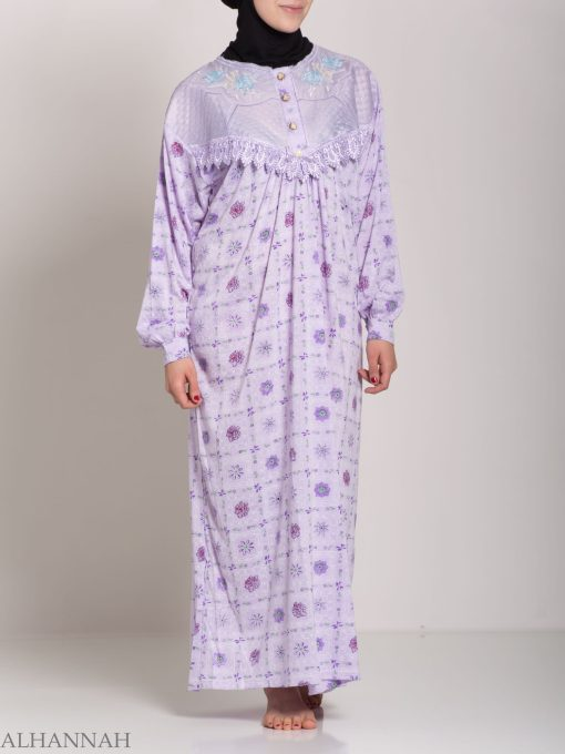 Checkered Floral Embroidered Cotton Nightgown NG107 (9)