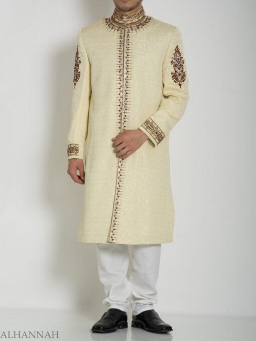 Embellished Arms Mandala Jacquard Designer Sherwani ME756 (1)