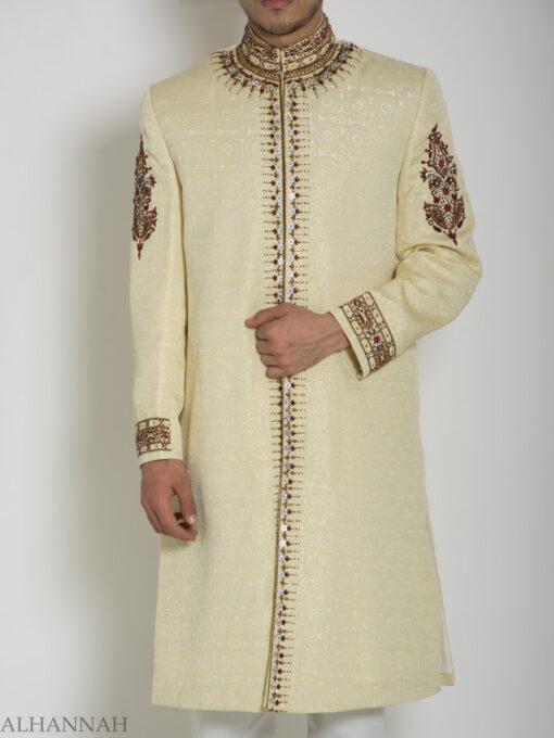 Embellished Arms Mandala Jacquard Designer Sherwani ME756 (3)