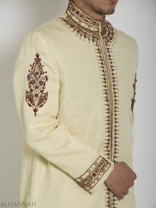 Embellished Arms Mandala Jacquard Designer Sherwani ME756 (4)