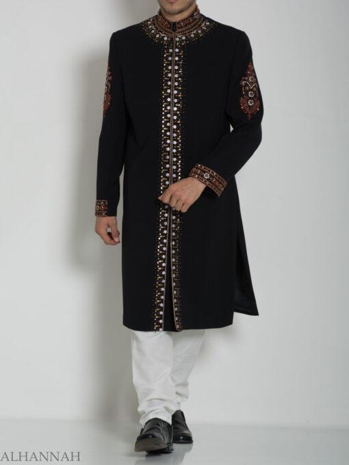 Embellished Arms Mandala Jacquard Designer Sherwani ME756 (5)