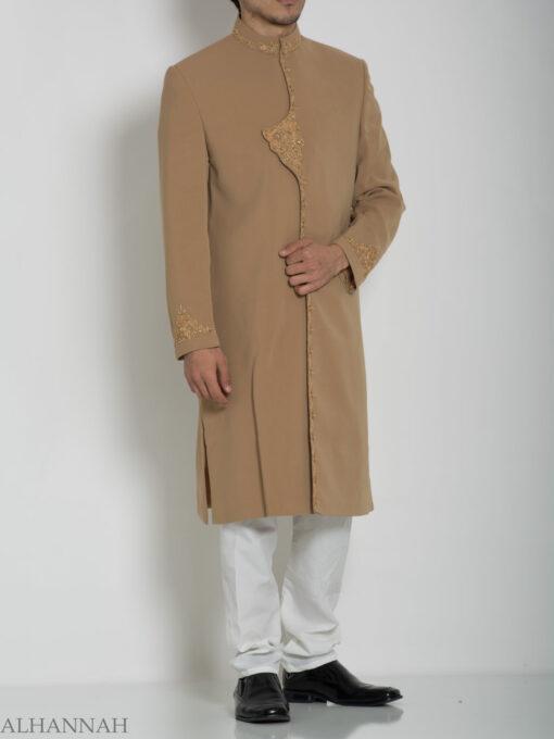 Embellished Flap Plain Jacquard Designer Sherwani ME759 (1)