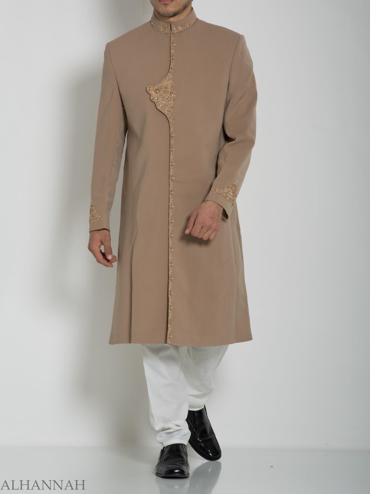 Embellished Flap Plain Jacquard Designer Sherwani ME759 (2)