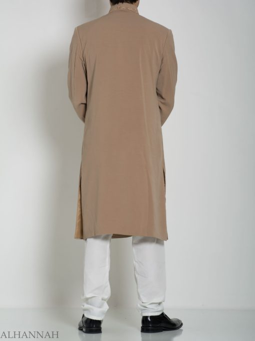 Embellished Flap Plain Jacquard Designer Sherwani ME759 (4)