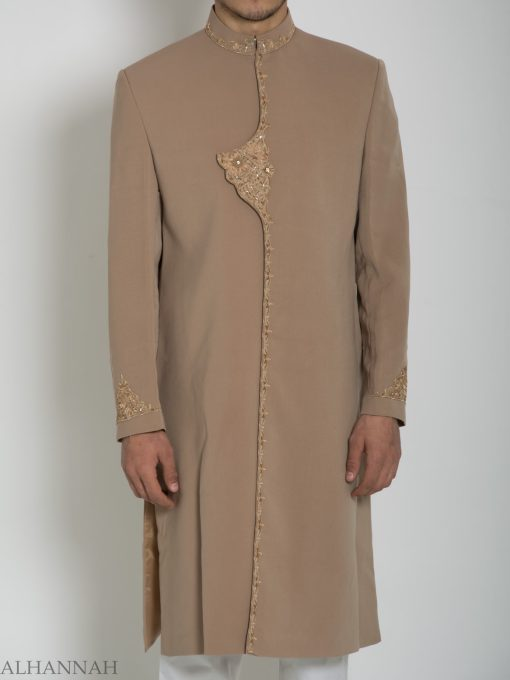 Embellished Flap Plain Jacquard Designer Sherwani ME759 (5)