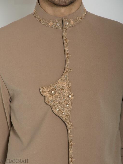 Embellished Flap Plain Jacquard Designer Sherwani ME759 (6)