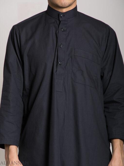 Half Open Short-Sleeved Black Salwar Kameez (1)