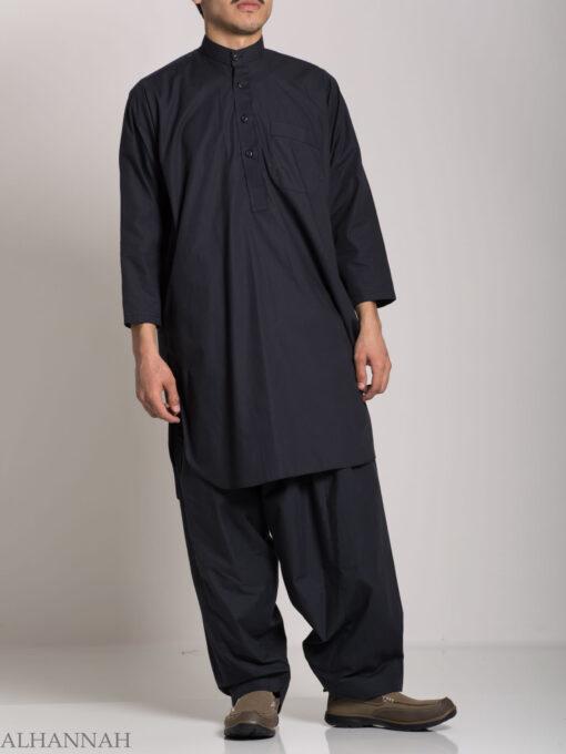 Half Open Short-Sleeved Black Salwar Kameez (2)
