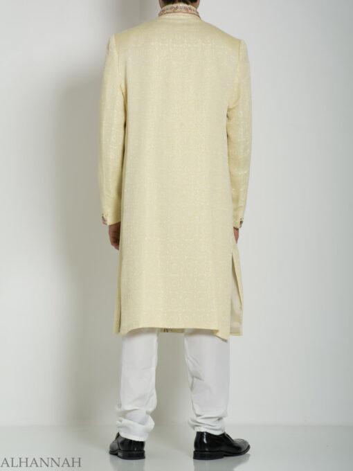 Ivory Embellished Mandala Jacquard Designer Sherwani ME760 (1)