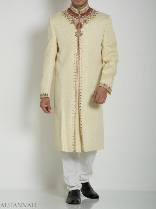 Ivory Embellished Mandala Jacquard Designer Sherwani ME760 (3)