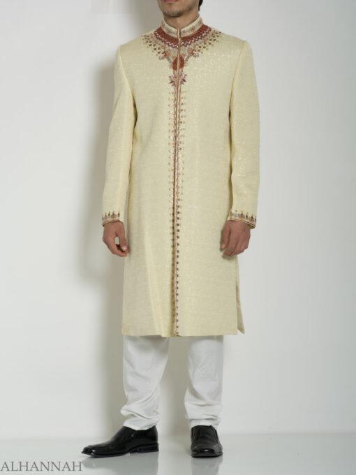 Ivory Embellished Mandala Jacquard Designer Sherwani ME760 (6)