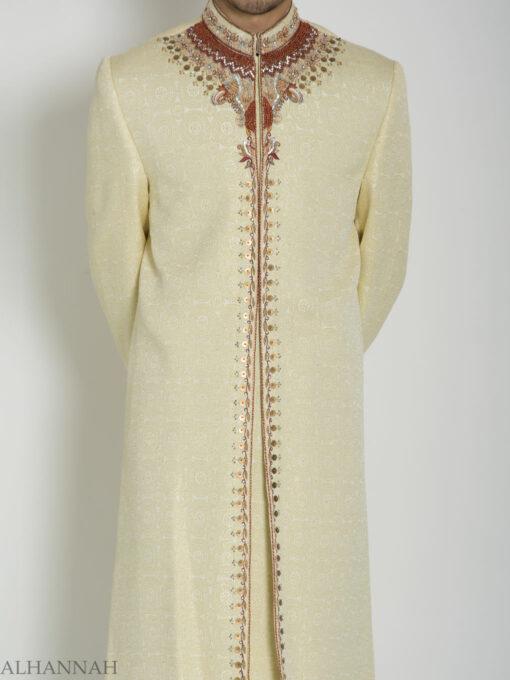 Ivory Embellished Mandala Jacquard Designer Sherwani ME760 (7)