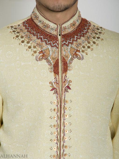 Ivory Embellished Mandala Jacquard Designer Sherwani ME760 (9)