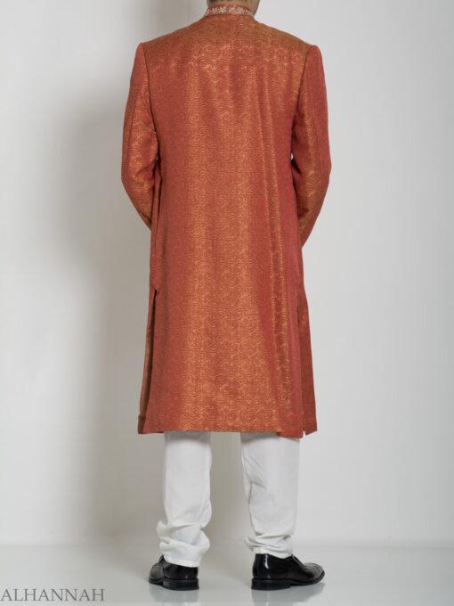 Orange Embellished Paisley Jacquard Designer Sherwani Jacket ME761 (1)