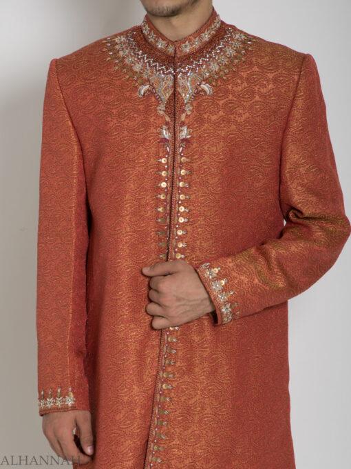 Orange Embellished Paisley Jacquard Designer Sherwani Jacket ME761 (2)