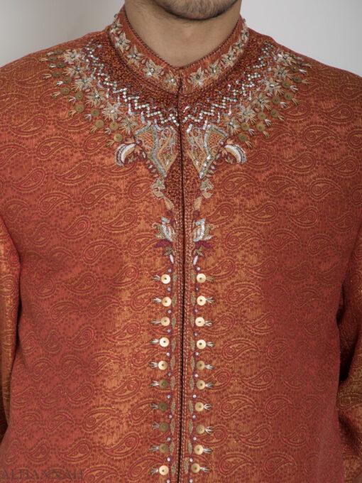 Orange Embellished Paisley Jacquard Designer Sherwani Jacket ME761 (3)