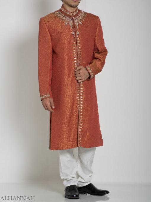 Orange Embellished Paisley Jacquard Designer Sherwani Jacket ME761 (4)