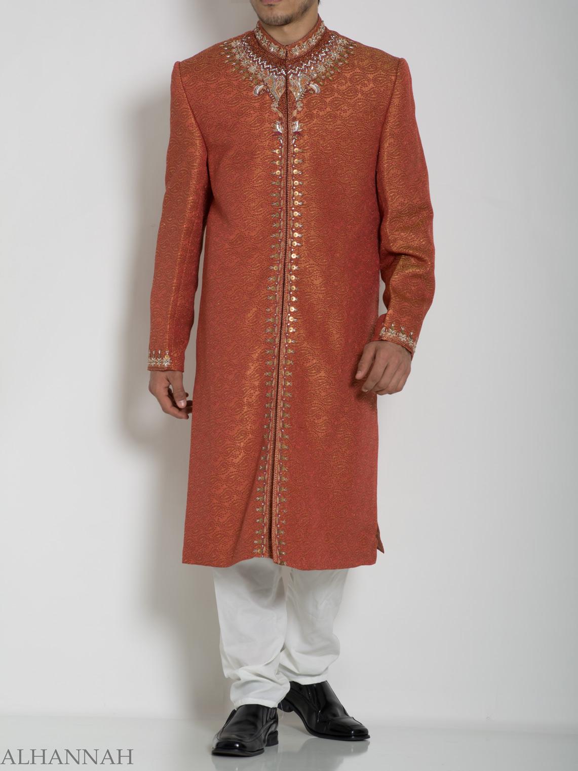 Orange Embellished Paisley Jacquard Designer Sherwani Jacket ME761 (5)