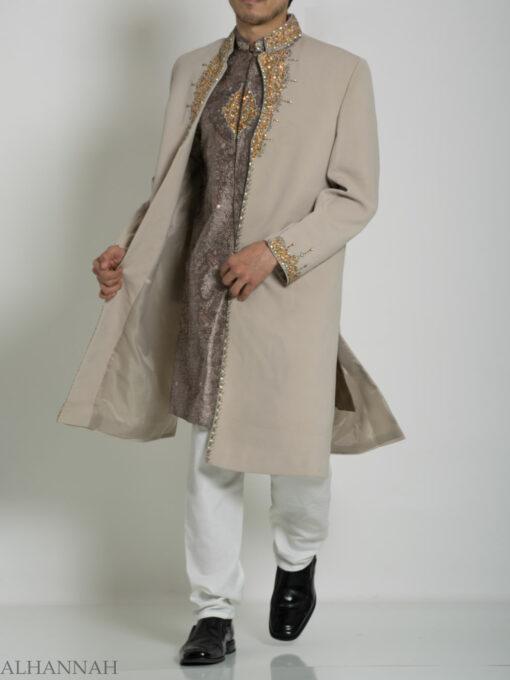 Tan Embellished Two Piece Paisley Jacquard Designer Sherwani Vest-Jacket ME755 (1)