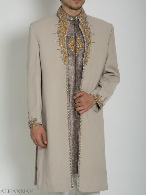 Tan Embellished Two Piece Paisley Jacquard Designer Sherwani Vest-Jacket ME755 (3)