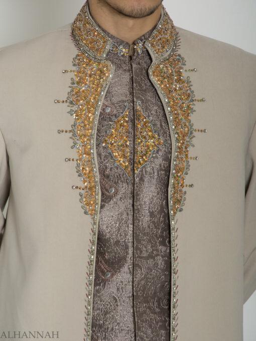 Tan Embellished Two Piece Paisley Jacquard Designer Sherwani Vest-Jacket ME755 (4)