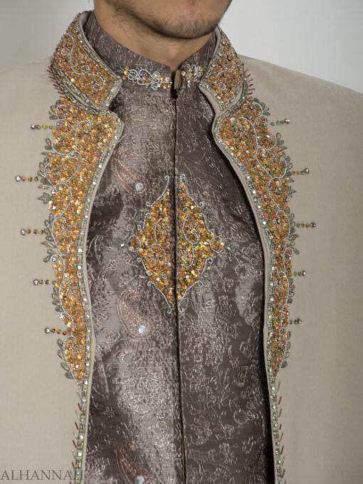 Tan Embellished Two Piece Paisley Jacquard Designer Sherwani Vest-Jacket ME755 (5)