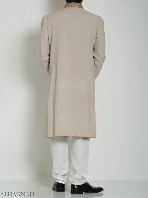 Tan Embellished Two Piece Paisley Jacquard Designer Sherwani Vest-Jacket ME755 (6)