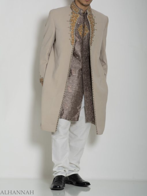Tan Embellished Two Piece Paisley Jacquard Designer Sherwani Vest-Jacket ME755 (7)