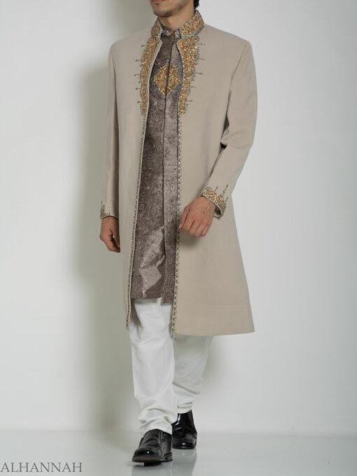 Tan Embellished Two Piece Paisley Jacquard Designer Sherwani Vest-Jacket ME755 (8)