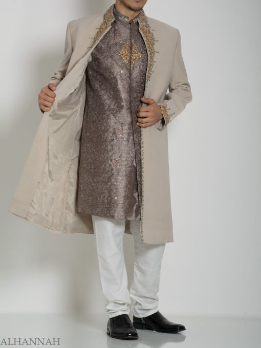 Tan Embellished Two Piece Paisley Jacquard Designer Sherwani Vest-Jacket ME755 (9)
