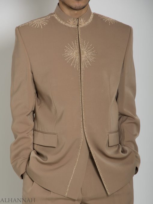 Tan Embroidered Plain Jacquard Designer Sherwani Suit ME757 (2)