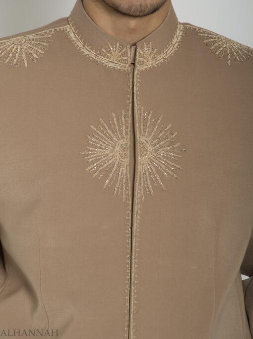 Tan Embroidered Plain Jacquard Designer Sherwani Suit ME757 (3)