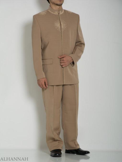 Tan Embroidered Plain Jacquard Designer Sherwani Suit ME757 (4)