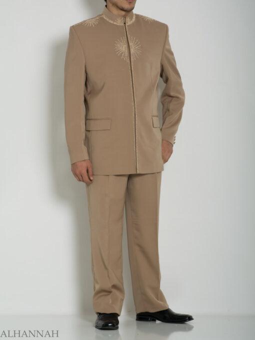 Tan Embroidered Plain Jacquard Designer Sherwani Suit ME757 (5)