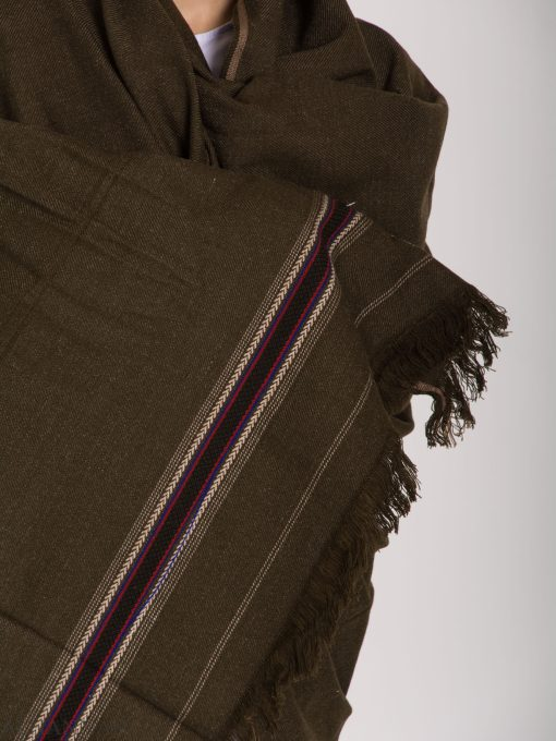 Tasseled Wool Shawl with Ethnic Arrowed Pattern ME748 (4)