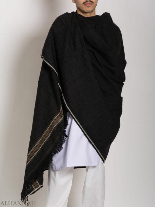 Tasseled Wool Shawl with Ethnic Arrowed Pattern ME748 (7)