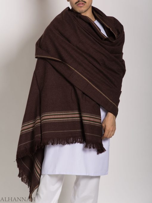 Tasseled Wool Shawl with Ethnic Arrowed Pattern ME748 (8)
