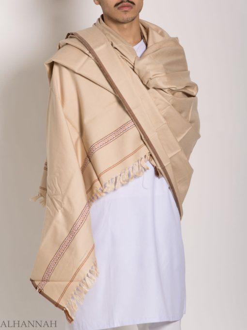 Tasseled Wool Shawl with Ethnic Triangle Pattern ME748 (1)