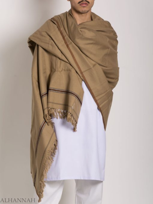 Tasseled Wool Shawl with Ethnic Triangle Pattern ME748 (5)