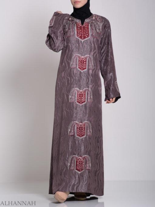 Embroidered Glowing Swirled Jordanian Abaya ab705 (1)
