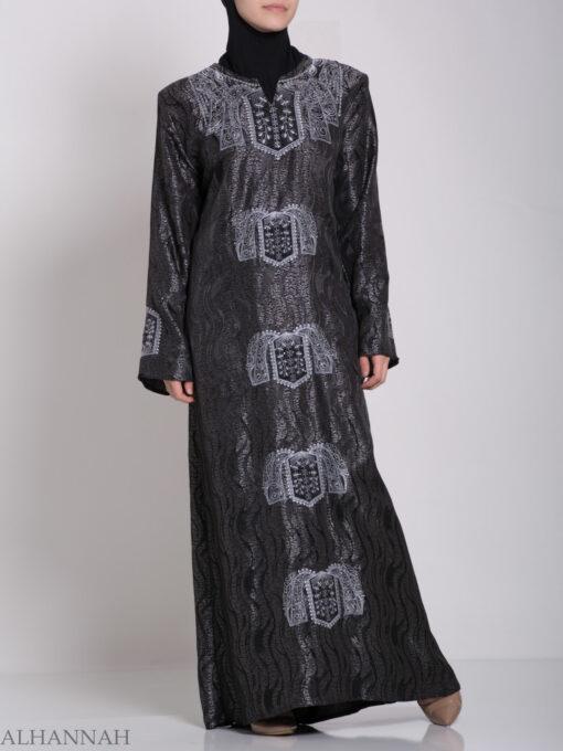 Embroidered Glowing Swirled Jordanian Abaya ab705 (10)