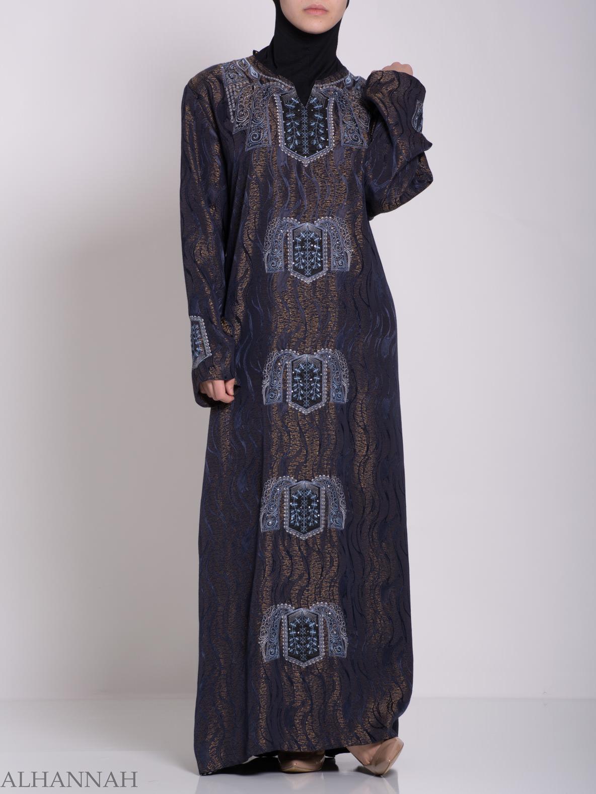 Embroidered Glowing Swirled Jordanian Abaya ab705 (5)
