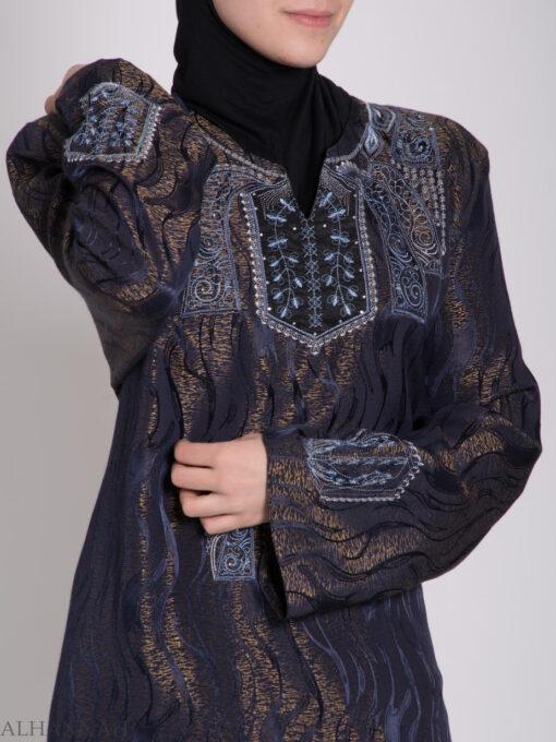 Embroidered Glowing Swirled Jordanian Abaya ab705 (9)