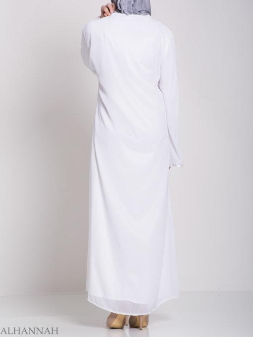 Layered Satin Rhinestone Bridal Abaya ab704 (1)