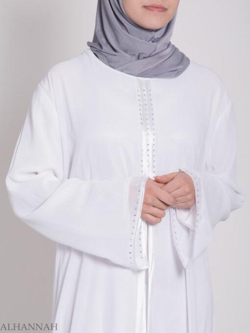 Layered Satin Rhinestone Bridal Abaya ab704 (10)