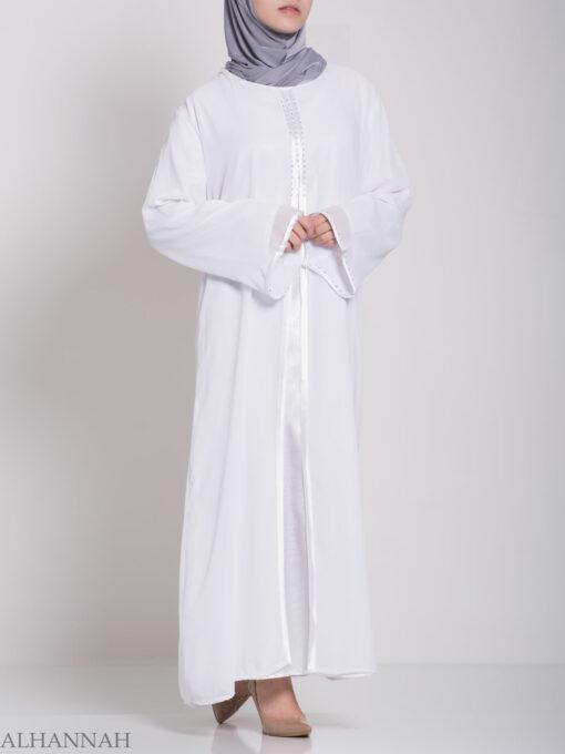 Layered Satin Rhinestone Bridal Abaya ab704 (5)