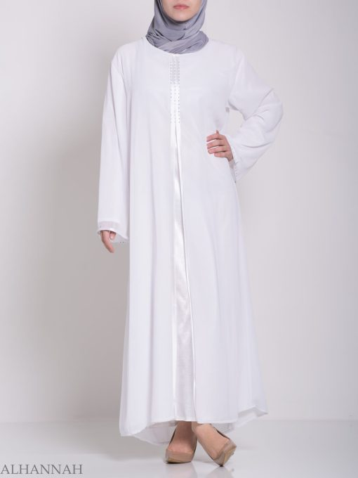 Layered Satin Rhinestone Bridal Abaya ab704 (6)