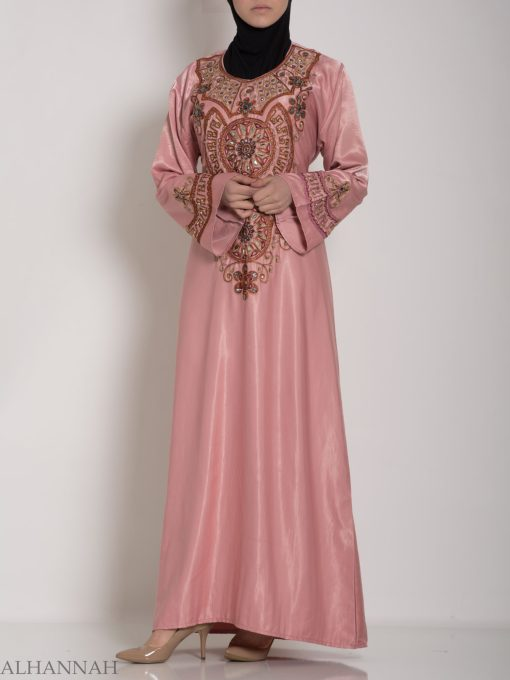 Pink Embellished Satin Embroidered Abaya ab706 (11)
