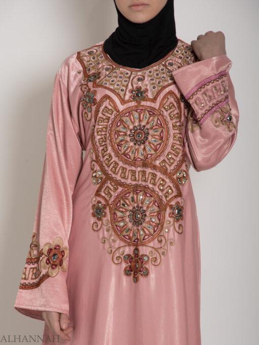 Pink Embellished Satin Embroidered Abaya ab706 (5)